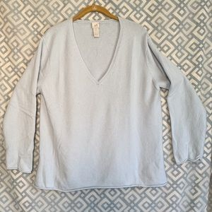 J Jill Cashmere Sweater Baby Blue Women LP Petite